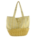 Canvas with Wheat Straw Base Tote Bag