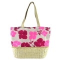 Flower Pattern Canvas with Corn Husk Straw Base Tote Bag